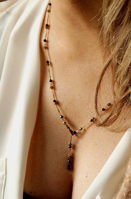 collier obsidienne zircon pierre de soleil