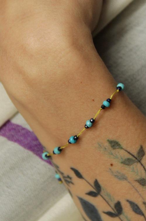 bracelet turquoise et lapis