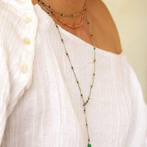 collier pierre de soleil jaspe vert