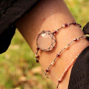 bracelet quartz rose grenat et labradorite