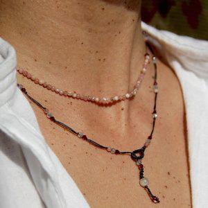 collier ajustable rhodochrosite