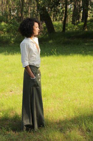 jupe longue en coton khadi